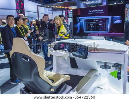 LAS VEGAS - JAN 08 : The LG booth at the CES show in Las Vegas on January 08 2017 , CES is the world's leading consumer-electronics show.