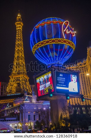 LAS VEGAS -JAN 09: The Paris Las Vegas hotel and casino on January 09, 2013 in Las Vegas. Las Vegas in 2012 is broke the all-time visitor volume record of 39-plus million visitors - stock photo