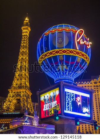LAS VEGAS -JAN 09: The Paris Las Vegas hotel and casino on January 09, 2013 in Las Vegas. Las Vegas in 2012 is broke the all-time visitor volume record of 39-plus million visitors