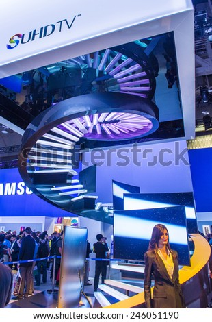 LAS VEGAS - JAN 09 : The Samsung booth at the CES show held in Las Vegas on January 09 2015 , CES is the world's leading consumer-electronics show.