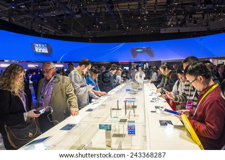 LAS VEGAS - JAN 09 : The Sony booth at the CES show held in Las Vegas on January 09 2015 , CES is the world's leading consumer-electronics show.