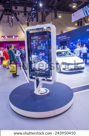 LAS VEGAS - JAN 09 : The Volkswagen booth at the CES Show in Las Vegas, Navada, on January 09, 2015. CES is the world's leading consumer-electronics show. - stock photo