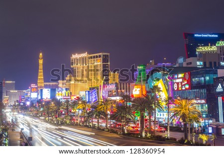 LAS VEGAS - JAN 24 : View of the strip on January 24, 2013 in Las Vegas. The Las Vegas Strip is an approximately 4.2-mile (6.8 km) stretch of Las Vegas Boulevard in Clark County, Nevada. - stock photo