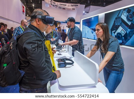 LAS VEGAS - JAN 08 : Virtual reality demonstration at the Gopro booth at the CES show in Las Vegas on January 08 2017 , CES is the world's leading consumer-electronics show.