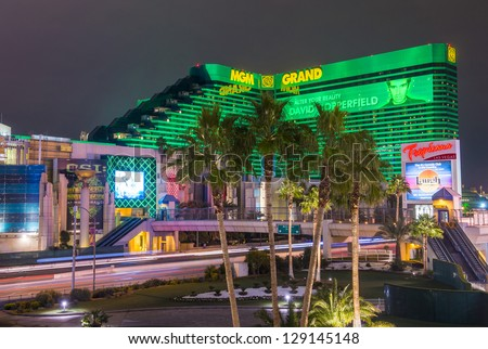 LAS VEGAS - JANUARY 24 : MGM hotel and casino on January 24, 2013 in Las Vegas. The MGM Grand is the third largest hotel in the world and the largest hotel resort complex in the USA - stock photo