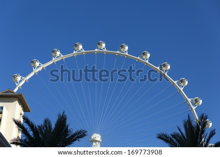 LAS VEGAS - JANUARY 04, 2014 - The High Roller on January 04, 2014  in Las Vegas. The High Roller was supposed to open by January 1st but that date has been pushed back to early February. - stock photo