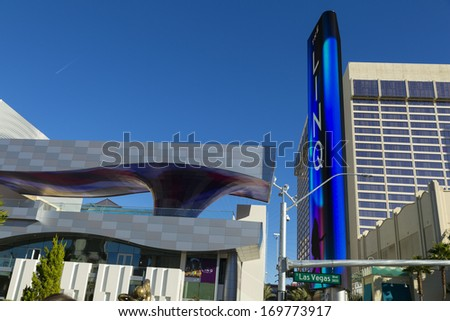 LAS VEGAS - JANUARY 04, 2014 - The Linq Entrance on January 04, 2014  in Las Vegas. Because the High Roller is not open yet, most tourists walk past the newly opened Linq corridor without a 2nd look.