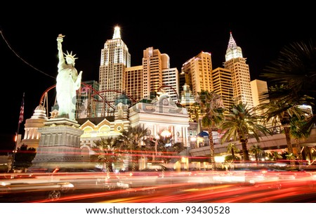 LAS VEGAS - JUL 14: New York hotel-casino creating the impressive New York City skyline with skyscraper towers and Statue of Liberty on July 14, 2011 in Las Vegas, Nevada. It was opened in 1997 - stock photo