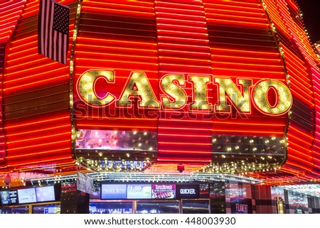 LAS VEGAS - JULY 04 : Casino sign at the Fremont Street Experience on July 04 , 2016 in Las Vegas, Nevada. The Fremont Street Experience is a pedestrian mall and attraction in downtown Las Vegas