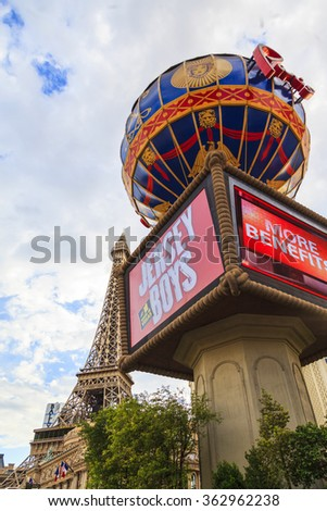 LAS VEGAS - JULY 8 2015: Paris Las Vegas hotel and Casino is shown in Las Vegas, Nevada. The Paris hotel and casino were completed in April 1999. About 40 million people visiting the city each year.