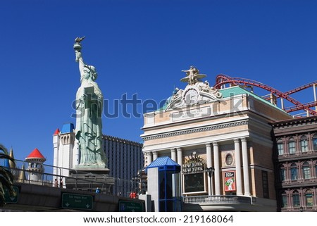LAS VEGAS - JULY 3: Statue of Liberty at New York Hotel and Casino on July 3, 2012 in Las Vegas, Nevada. Opened in 1997, the hotel has 2.024 rooms and the casino 84,000 square feet of gaming space. - stock photo