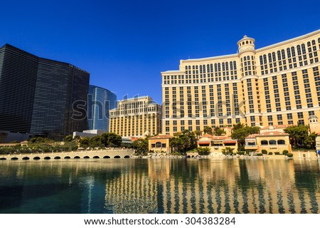 LAS VEGAS - JULY 8, 2015 - The Bellagio hotel recently completed a $165 million dollar remodel of all 3,933 rooms and recently awarded  AAA five diamond award for the 14th consecutive year in a row. - stock photo