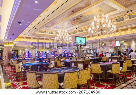 LAS VEGAS - JULY 03 : The interior of the Venetian hotel & Casino in Las Vegas on July 03, 2014. With more than 4000 suites it's one of the most famous hotels in the world. - stock photo