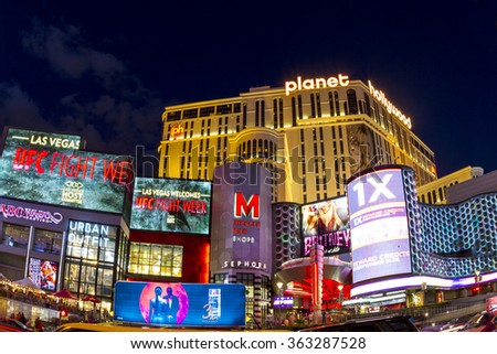 LAS VEGAS - JULY 8 2015: View of the strip  in Las Vegas. The Las Vegas Strip is an approximately 4.2-mile (6.8 km) stretch of Las Vegas Boulevard in Clark County, Nevada. - stock photo