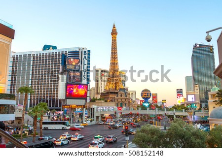 LAS VEGAS - JULY 10 : View of the strip on July 10, 2016 in Las Vegas. The Las Vegas Strip is an approximately 4.2-mile (6.8 km) stretch of Las Vegas Boulevard in Nevada USA.