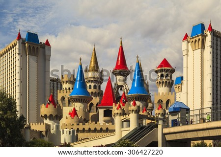 LAS VEGAS - JUN 8 2015: The Excalibur hotel and Casino is shown in Las Vegas, Nevada. The Excalibur opened on June 19, 1990. The complex has 3,981 rooms and is owned by MGM Resorts International. - stock photo