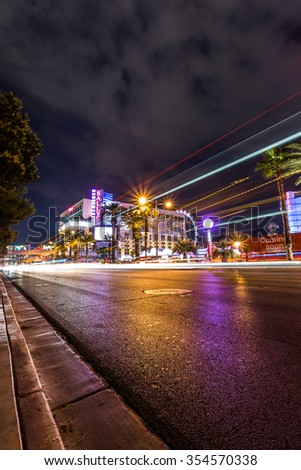 LAS VEGAS - JUNE 11 2015: Ballys hotel by night, one of the premiere hotel on the famous Las Vegas strip - stock photo
