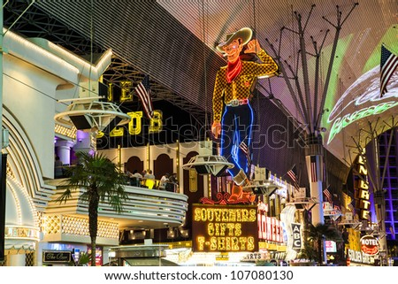 LAS VEGAS - JUNE 16 : Fremont Street in Las Vegas, Nevada on June 16, 2012. The street is the second most famous street in the Las Vegas. Fremont Street dates back to 1905, when Las Vegas was founded. - stock photo