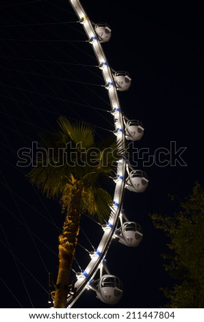 Las VEGAS - JUNE 24, 2014: High Roller is a 550 ft tall giant Ferris wheel located in the LINQ shopping area on the Las Vegas Strip opened March 31, 2014.