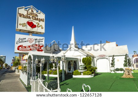 LAS VEGAS - JUNE 15: Little White Wedding Chapel on June 15, 2012 in Las Vegas, USA. Michael Jordan and Joan Collins married in that chapel. - stock photo