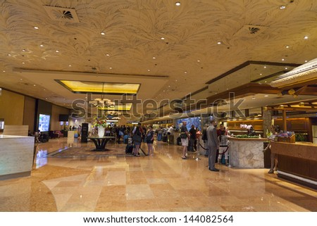 LAS VEGAS - JUNE 26: Mirage Hotel on June 26, 2013  in Las Vegas. The Mirage was the most expensive hotel-casino in history, with a construction cost of US $630 million. - stock photo