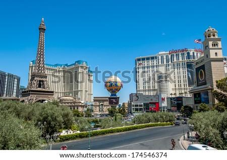 LAS VEGAS - June 18: Paris Las Vegas on June 18, 2009 in Las Vegas. It includes a half scale, 541 ft (164.6 m) replica of Eiffel Tower. Paris cost $785 million to build and opened September 1, 1999. - stock photo