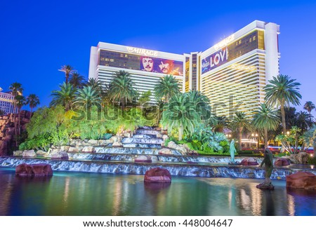 LAS VEGAS - JUNE 22 : The Mirage Hotel in Las Vegas on June 22 2016. The hotel Opened in 1989, and it has 2.884 rooms and a casino with 100,000 square feet of gaming space.