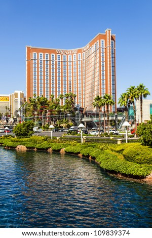 LAS VEGAS - JUNE 15: Treasure Island Hotel and Casino on June 15, 2012 in Las Vegas. This Caribbean themed resort has an hotel with 2,884 rooms. - stock photo