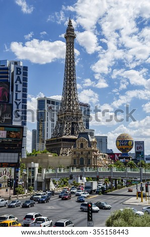 Las Vegas 11/08/ 2012: Las Vegas is a city with a lot of cicy inside. The theme casinos create different panoramas inspired from the world most famous cityes .Here is the Tour Eiffel of Paris Casino.