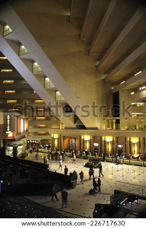Las Vegas Luxor Hotel Lobby on October 2014 - stock photo