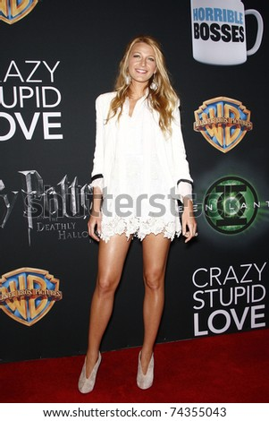 LAS VEGAS - MAR 31: Blake Lively arrives at a Warner Bros. Pictures presentation to promote the new film, 'Green Lantern' at Caesars Palace during CinemaCon on March 31, 2011. - stock photo