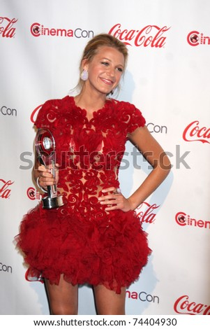 LAS VEGAS - MAR 31: Blake Lively in the CinemaCon Convention Awards Gala Press Room at Caesar's Palace on March 31, 2011 in Las Vegas, NV. - stock photo