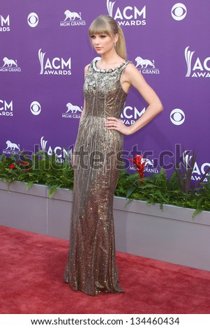LAS VEGAS - MAR 7:  Taylor Swift arrives at the 2013 Academy of Country Music Awards at the MGM Grand Garden Arena on March 7, 2013 in Las Vegas, NV - stock photo