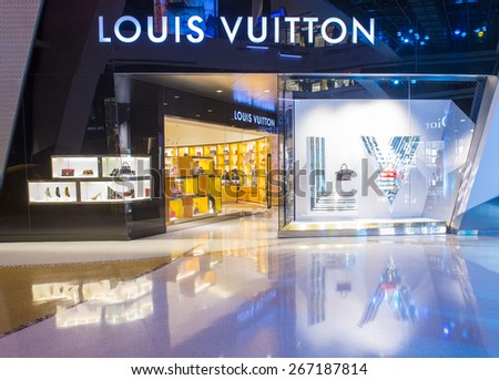 LAS VEGAS - MARCH 26 : Exterior of a Louis Vuitton store in Las Vegas strip on March 26 , 2015. The Louis Vuitton company operates in 50 countries with more than 460 stores worldwide - stock photo
