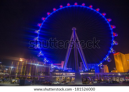 LAS VEGAS - MARCH 10 : The High Roller at the Linq, a dining and shopping district at the center of the Las Vegas Strip on March 10 2014 , The High Roller is the world's largest observation wheel - stock photo