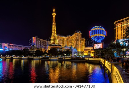 LAS VEGAS - MARCH 26 : View of the Paris hotel on strip on March 26 , 2015 in Las Vegas. Paris Las Vegas hotel, The Flamingo and Bally's casino are in the back ground. - stock photo