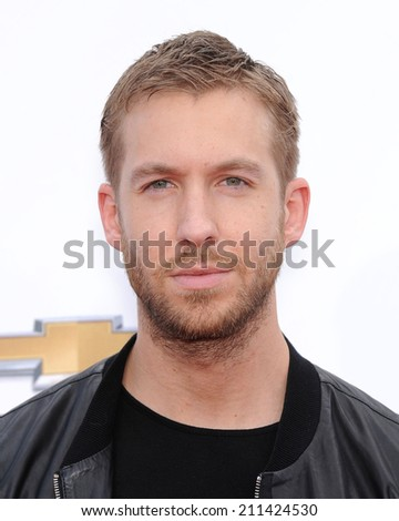 LAS VEGAS - MAY 18:  Calvin Harris arrives to the Billboard Music Awards 2014  on May 18, 2014 in Las Vegas, NV.                 - stock photo