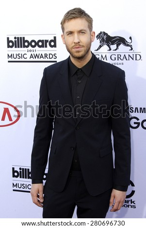 LAS VEGAS - MAY 17: Calvin Harris at the 2015 Billboard Music Awards at the MGM Grand Garden Arena on May 17, 2015 in Las Vegas, Nevada.  - stock photo