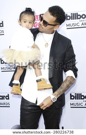 LAS VEGAS - MAY 17: Chris Brown, daughter Royalty at the 2015 Billboard Music Awards at the MGM Grand Garden Arena on May 17, 2015 in Las Vegas, Nevada. - stock photo