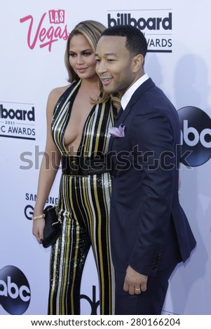LAS VEGAS - MAY 17: Chrissy Teigen, John Legend at the 2015 Billboard Music Awards at the MGM Grand Garden Arena on May 17, 2015 in Las Vegas, Nevada. - stock photo