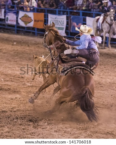 LAS VEGAS - MAY 17 : Cowboy Participant in a Calf roping Competition at the Helldorado Days Professional Rodeo in Las Vegas , USA on May 17 2013 - stock photo