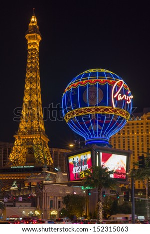 LAS VEGAS - MAY 24: Eiffel Tower at night on May 24, 2013 in Las Vegas. This is the biggest copy of the Eiffel tower and its height is 170 meters