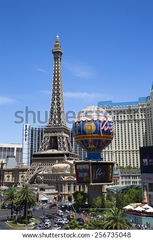 LAS VEGAS - MAY 10, 2014: Eiffel Tower at Paris Hotel and Casino in Las Vegas.The resort has an hotel with 2,915 rooms and a half scale replica of the Eiffel Tower