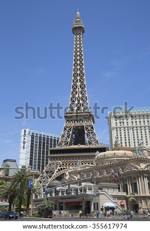 LAS VEGAS - MAY 9, 2014: Eiffel Tower at Paris Hotel and Casino in Las Vegas.The resort has an hotel with 2,915 rooms and a half scale replica of the Eiffel Tower