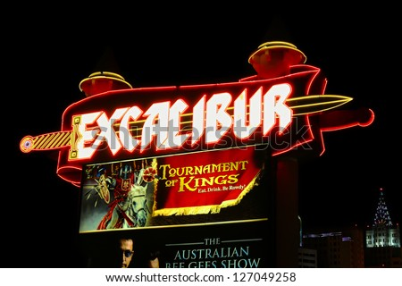 LAS VEGAS - MAY 23: Excalibur Hotel and Casino on May 23, 2012 in Las Vegas, Nevada. The Excalibur is on the south end of the Strip and opened in the year 1990. - stock photo