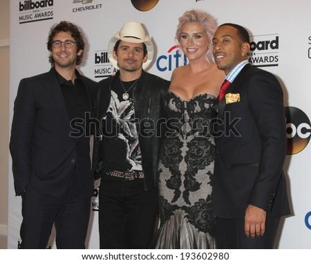 LAS VEGAS - MAY 18:  Josh Groban, Brad Paisley, Kesha, Ludacris aka Chris Bridges at the 2014 Billboard Awards at MGM Grand Garden Arena on May 18, 2014 in Las Vegas, NV - stock photo