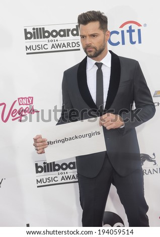 LAS VEGAS - MAY 18 : Musician Ricky Martin attends the 2014 Billboard Music Awards at the MGM Grand Garden Arena on May 18 , 2014 in Las Vegas. - stock photo