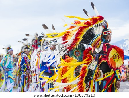 LAS VEGAS - MAY 24 : Native American men takes part at the 25th Annual Paiute Tribe Pow Wow on May 24 , 2014 in Las Vegas Nevada. Pow wow is native American cultural gathernig event. - stock photo