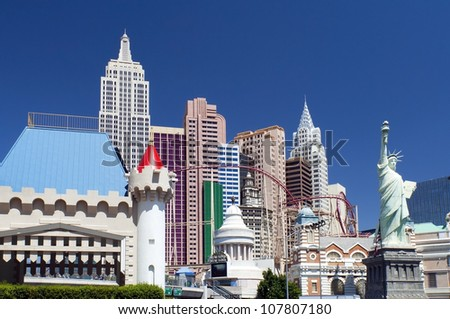 LAS VEGAS - May 29: New York-New York hotel casino creating the impressive New York City skyline with skyscraper towers and Statue of Liberty replica on May 29, 2012 in Las Vegas - stock photo