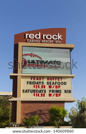LAS VEGAS - MAY 29, 2013 - Red Rock Hotel on May 29, 2013  in Las Vegas, NV. Red Rock Casino features 815 guest rooms and a 87,000 sq ft casino. - stock photo